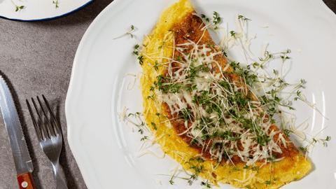 Kresse-Omelette mit Gouda