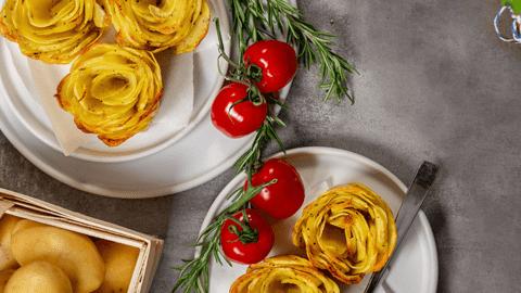 Kartoffelrosen in der Muffinform backen