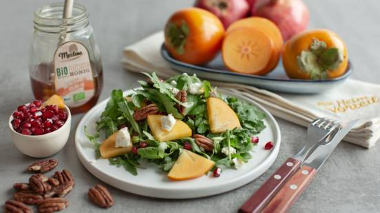 Herbstlicher Granatapfel-Salat mit Kaki