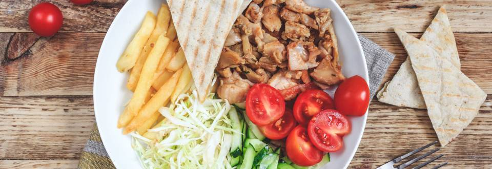 Gyros-Platte mit Pita-Brot