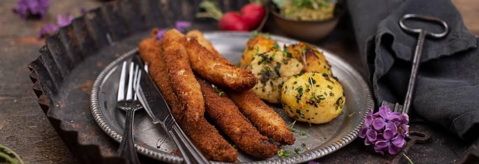 Gebackener Spargel mit Frühlingskräuter-Kartoffeln