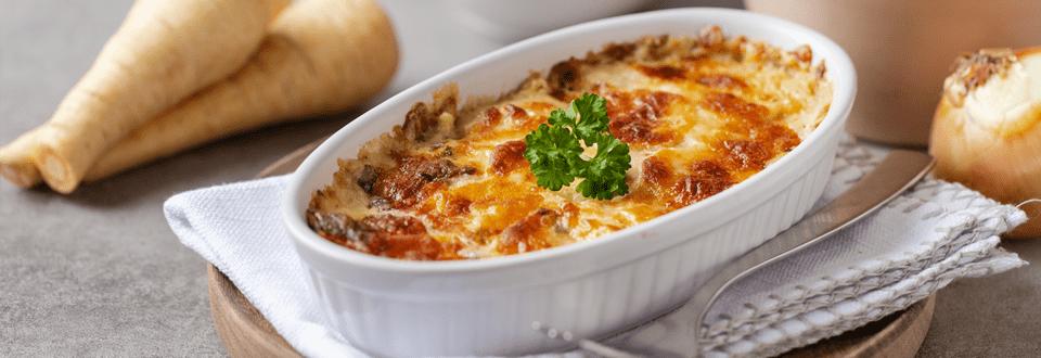 Pastinaken-Auflauf mit Käse